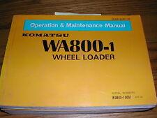 Komatsu WA800-1 OPERATION MAINTENANCE MANUAL WHEEL LOADER OPERATOR GUIDE BOOK