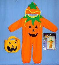 Pumpkin costume-Toddler-child 2-4-pajama soft jumpsuit-hat;felt bag-Dress Up;LOT