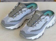 7.5 | Skechers D-Lites Air-Cooled Memory Women Gray White Slip On Slide Sneaker