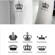 Colorful Temporary Tattoo Stickers Body Art Crown Queen king small set