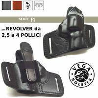 Fondina Vega Holster DESTRA cuoio  F104 revolver da 2,5 a 4 pollici nera