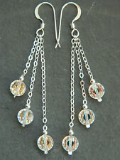Vintage Aurora Borealis Faceted Crystals & 925 Sterling Silver Handmade Earrings