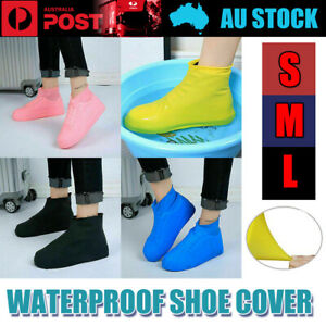 WATERPROOF SHOE COVER Silicone Non Slip Rain Water RUBBER Foot Boot Overshoe AU
