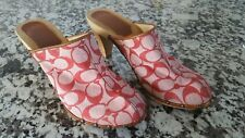 Coach Felicity Clog Mules Size 8 pink wood leather rivet