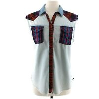 Kendall & Kylie Women's Chambray Western Sleeveless Shirt Vest Cut Outs Sz Large