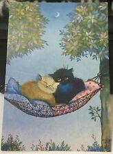 Postcard Art Cats Renate Koblinger Zartlicher Abend Ol auf Platte - unposted