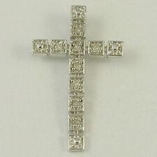 "14k White Gold and Diamond Cross Pendant, 0.91"" (new, 0.06ct, 1.10g) - #00002608"
