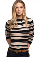 Ladies Black Beige Long Sleeved Round Neck Stripe Jumper UK Sizes 16-26/eu 42-52