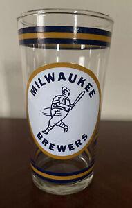 1970's MILWAUKEE BREWERS Beer Glass MLB Baseball Vtg 70's WTMJ TMJ Channel 4 NBC