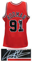Dennis Rodman Signed Chicago Bulls Red M&N NBA Swingman Basketball Jersey (JSA)