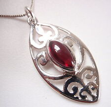 Garnet Marquise Filigree 925 Sterling Silver Necklace Corona Sun Jewelry