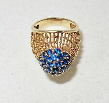 Vintage 14K Yellow Gold Dome Cocktail Ring w/ Blue Sapphires (7 grams, size 4.5)
