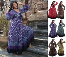 Women Maxi Boho Floral Summer Beach Long Dress Batik lace-up N160 LotusTraders