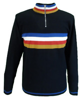 Mens Black Retro Stripe Knitted Cycling Top