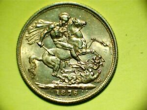 Full Gold Sovereign, 1876,S mint, Victoria St George back, Royal Mail Special De