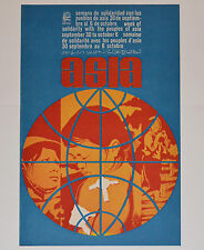 1968 Original Cuba Political Poster.Cold War Graphic art.Solidarity with Asia
