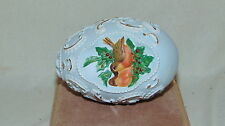 Solid Ceramic Egg- Robin Egg Blue with Robins and Holly w/ gold accents