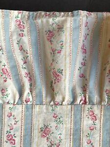 EUC RALPH LAUREN *STRIPE Floral TWIN Bedding Ruffled FLAT Sheet ROSES Blue