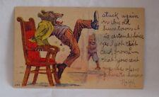 Antique Teddy Bear Postcard - Teddy bear sat on thumbtack Postcard