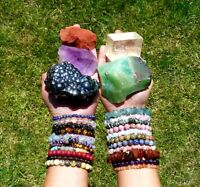 Blue Lace Agate Chip Bracelet Reiki Crystal Healing Gemstone Beads