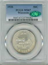 1936 Silver Commemorative Wisconsin 50C, MS 67 - PCGS & CAC