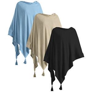 Leichter Damen Poncho Schal Cape Cardigan weich für Frauen Baumwolle One Size