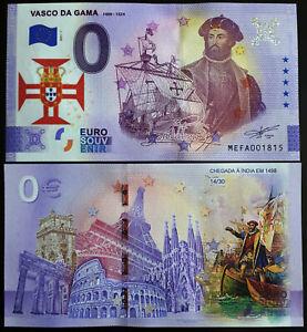 0 euro Souvenir Billet PORTUGAL Vasco De Gama 2021 Numéroté 30 exemplaires