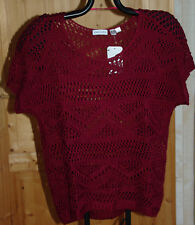 TOP PULL MANCHES COURTES MAILLE AJOURÉE BORDEAUX GINA LAURA T XXL 54-56 NEUF
