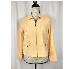 J Jill womens jacket size XSP light orange cream zipper Linen cotton lightweight