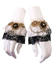 Steampunk Gold Gears White Wrist Cuffs Adult Women's Victorian Costume Accessory