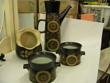 Set of Vintage 1950's DENBY Pottery Arabesque Coffee Pot + 2 Pots & Biscuit Jar