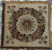 "ANTIQUE 18C AUBUSSON FRENCH HAND WOVEN SILK TAPESTRY PANEL 24""By 24"""