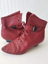Vintage Red Leather High Heel Lace up Ankle Boots w/ Buckle - Made in Italy Sz41