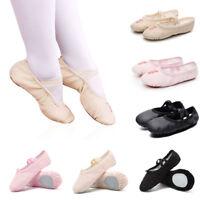 Ballet Dance Shoes Yoga Gymnastics Shoes Kids Girls Canvas Crossed Elastics New