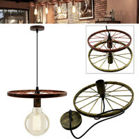 Industrial Wheel Ceiling Pendant Lampshade Vintage Retro Style Light Fitting UK