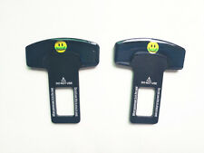 2PCS Smile Safety Seat Belt Buckle Insert Alarm Stopper Eliminator Clip - Black