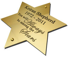 "8"" Star Solid Brass Plaque/Name plate. Deep Engraving in Solid Brass"