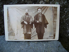 Antique photo Japan two men wore Haori back sheet #1235