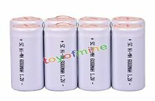 8pcs Ni-MH 6000mAh 1.2V Sub C Rechargeable Battery  With Tab