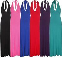 New Womens Plus Size Sleeveless Halter Neck Long Jersey Maxi Dress 16-22