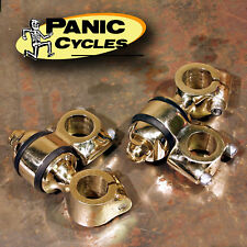"FLANDERS STYLE 2""BRASS DOGBONE RISERS HARLEY BOBBER PANHEAD KNUCKLEHEAD SPRINGER"