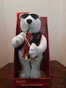 Vtg Coca Cola 1990's Christmas Animated Jazz Sax Musical Polar Bear new in box