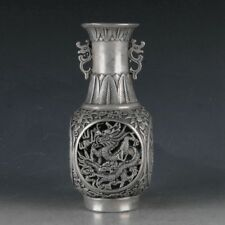 Chinese Silvering Copper Hollow Out Dragon Vase Made During The Da Ming Xuande .