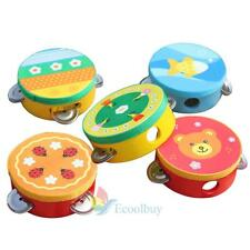 Wooden Toy Toddler Baby Shaker Jingle Hand Bell Ring Rattle Tambourine Drum A