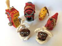 Animal Vintage Japanese Kokeshi Doll Ceramic Wood Craft Hand Paint  6 pieces
