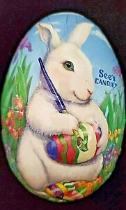 SEE'S CANDY  Paper Mache  Easter Egg  Candy Container  2011