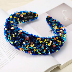 Women's Sequin Padded Headband Hair Band Wide Hair Rope Ring Accessories Costume
