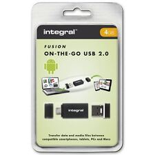Integral USB OTG Adapter con 4GB Fusion 2.0 USB Flash Drive inclusa.