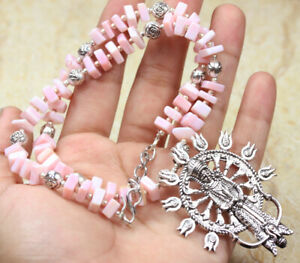 """Pink Opal 925 Silver Plated Handmade Gemstone Necklace of 18.4"""" Ethnic Gift"""