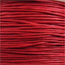 Cordón de Algodón Encerado 0,8mm – 5 M Rojo para collares y Pulseras de cuentas